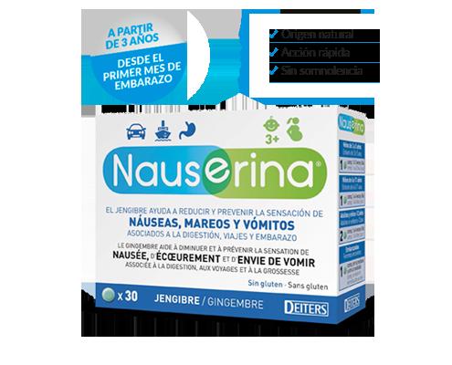 Nauserina con jengibre para nauseas, mareos y vómitos